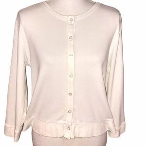 Rafaella solid white button up cardigan